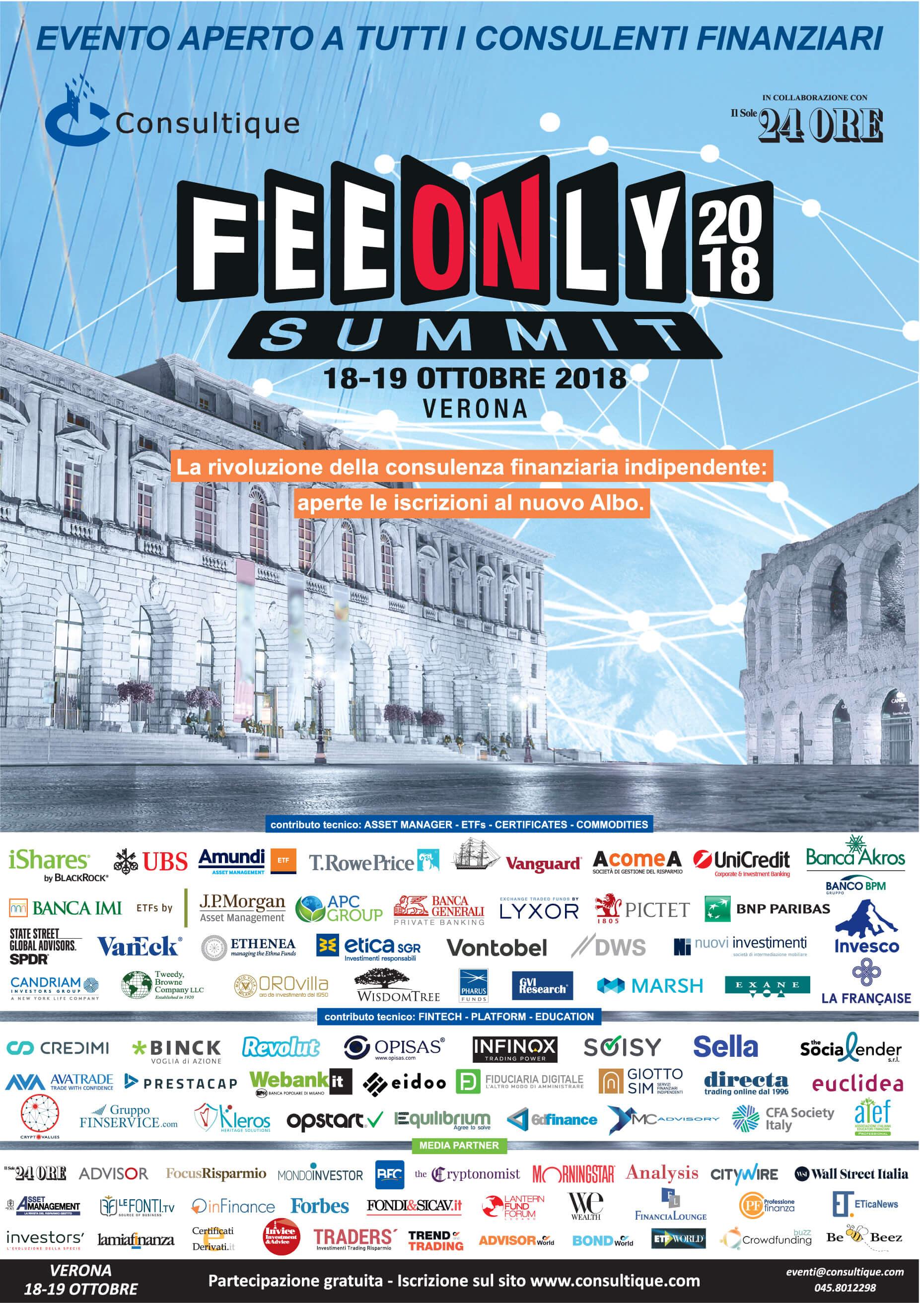 FEE ONLY SUMMIT 2018: la rivoluzione della consulenza finanziaria